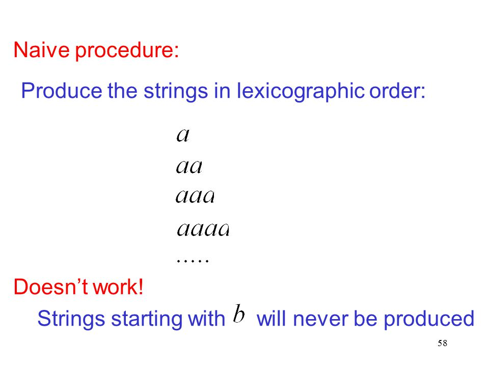 58 Naive procedure: Produce the strings in lexicographic order: Doesn't work! Strings starting with will never be produced
