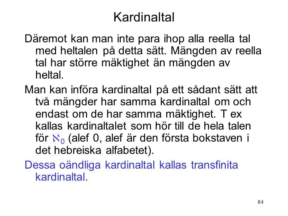 84 Kardinaltal Däremot kan man inte para ihop alla reella tal med heltalen på detta sätt.