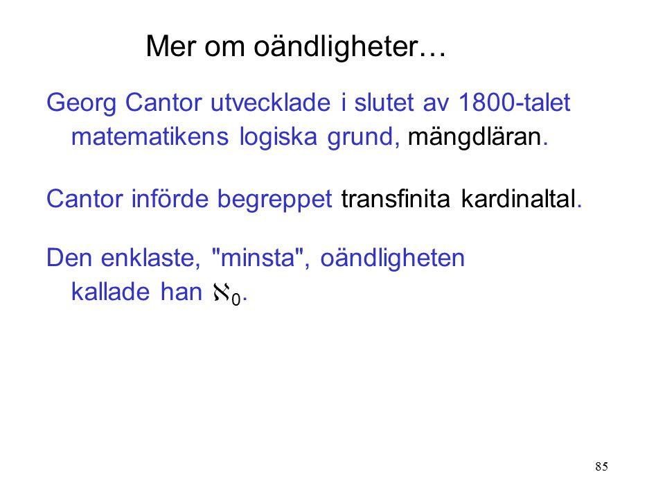 85 Georg Cantor utvecklade i slutet av 1800-talet matematikens logiska grund, mängdläran.