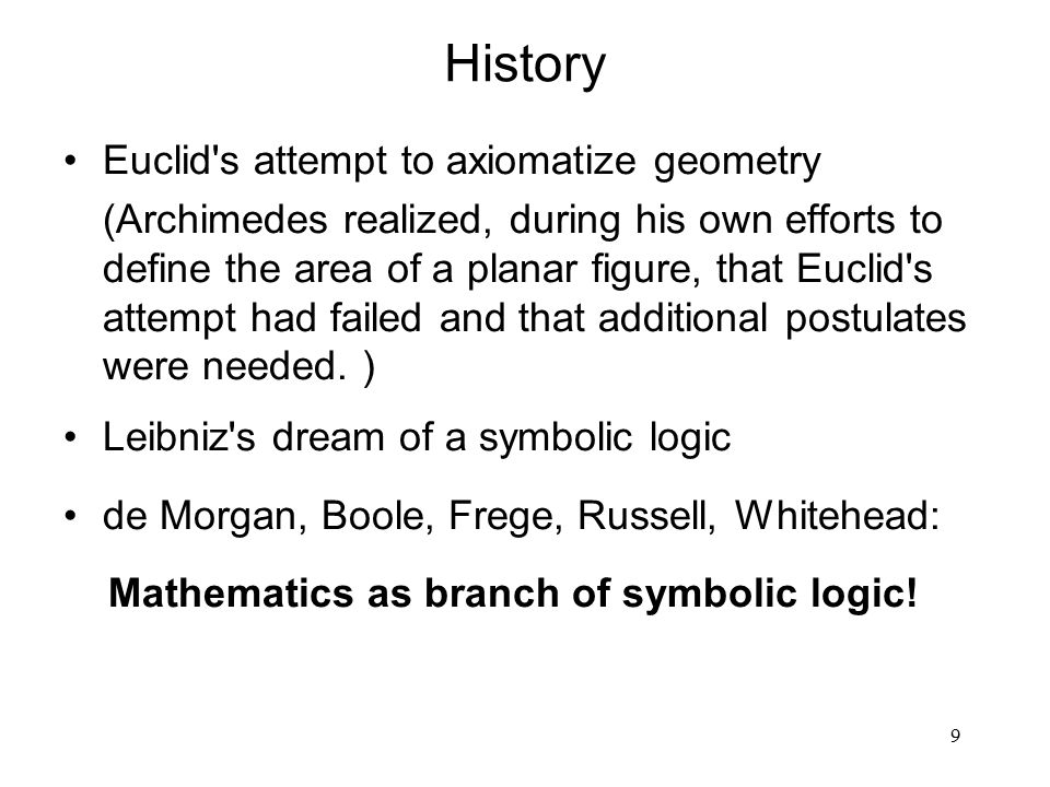 9 History Euclid's attempt to axiomatize geometry (Archimedes realized, during his own efforts to define the area of a planar figure, that Euclid's at