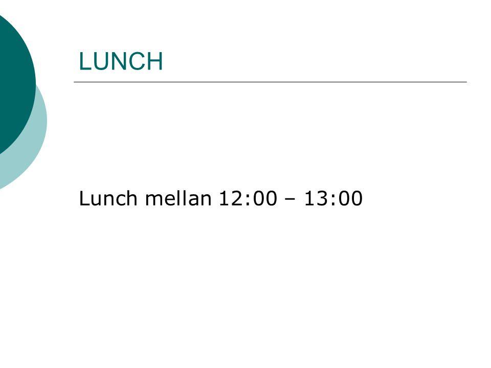 LUNCH Lunch mellan 12:00 – 13:00