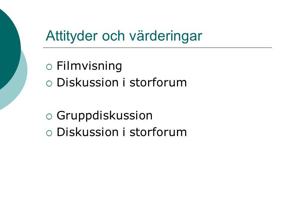 Attityder och värderingar  Filmvisning  Diskussion i storforum  Gruppdiskussion  Diskussion i storforum