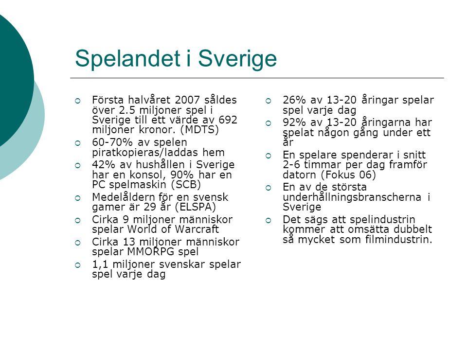Spelandet i Sverige  Första halvåret 2007 såldes över 2.5 miljoner spel i Sverige till ett värde av 692 miljoner kronor. (MDTS)  60-70% av spelen pi