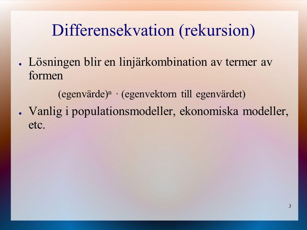 3 Differensekvation (rekursion) ● Lösningen blir en linjärkombination av termer av formen (egenvärde)ⁿ · (egenvektorn till egenvärdet) ● Vanlig i populationsmodeller, ekonomiska modeller, etc.