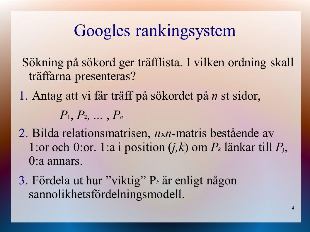 4 Googles rankingsystem Sökning på sökord ger träfflista.
