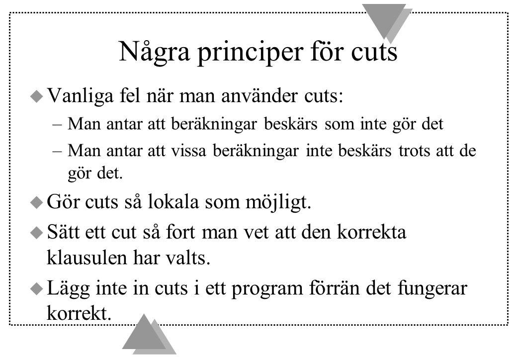 Några principer för cuts u Vanliga fel när man använder cuts: –Man antar att beräkningar beskärs som inte gör det –Man antar att vissa beräkningar inte beskärs trots att de gör det.