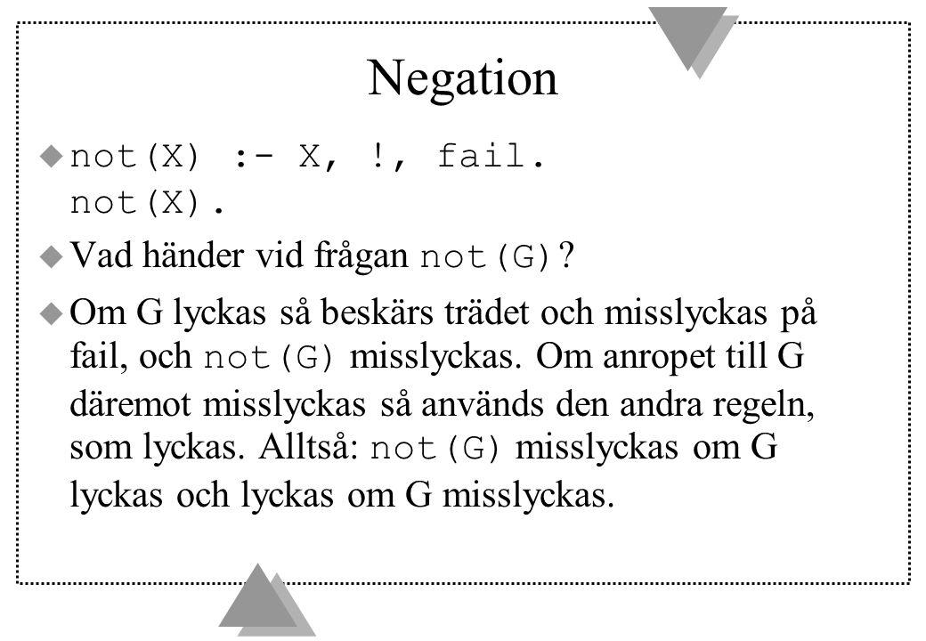 Negation  not(X) :- X, !, fail. not(X).  Vad händer vid frågan not(G) .