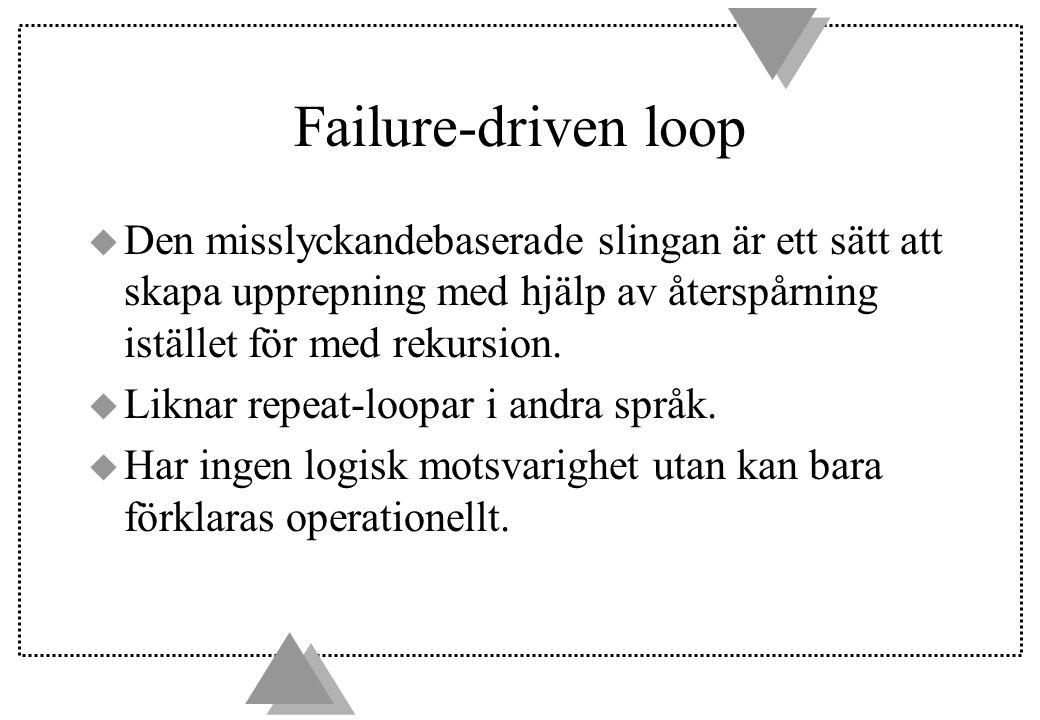 Failure-driven loop u Den misslyckandebaserade slingan är ett sätt att skapa upprepning med hjälp av återspårning istället för med rekursion.