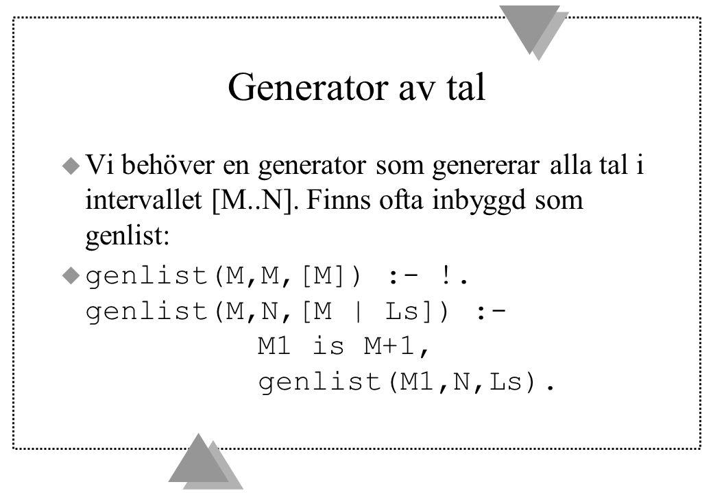 Generator av tal u Vi behöver en generator som genererar alla tal i intervallet [M..N].
