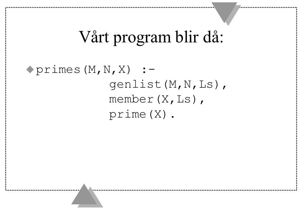 Vårt program blir då: u primes(M,N,X) :- genlist(M,N,Ls), member(X,Ls), prime(X).