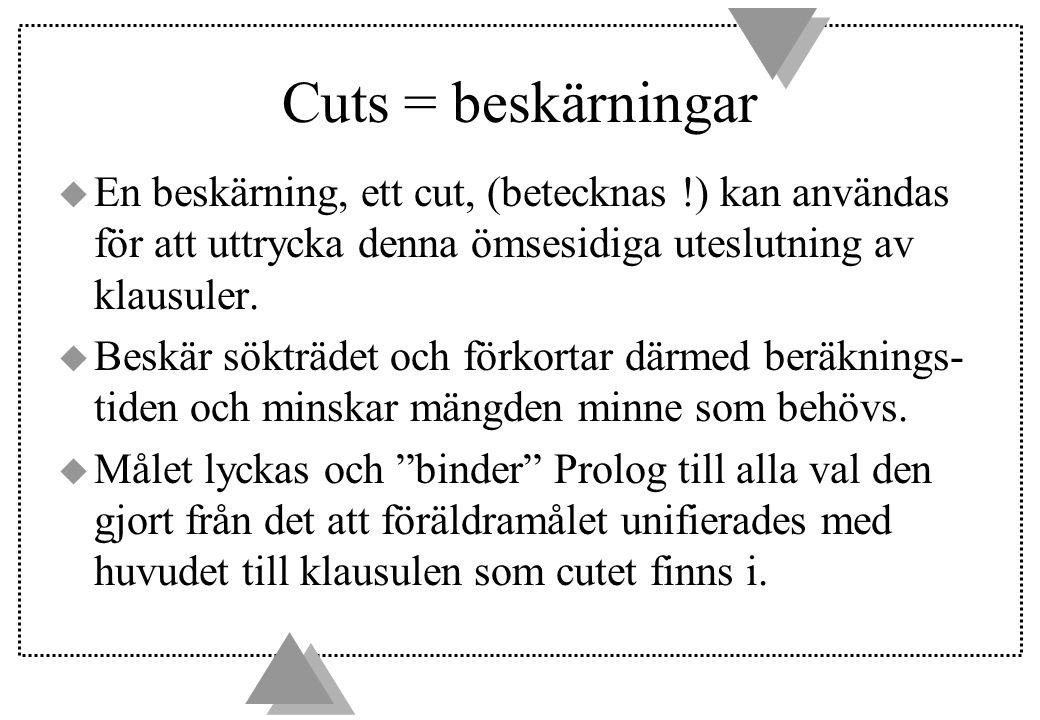 Cuts = beskärningar u En beskärning, ett cut, (betecknas !) kan användas för att uttrycka denna ömsesidiga uteslutning av klausuler.