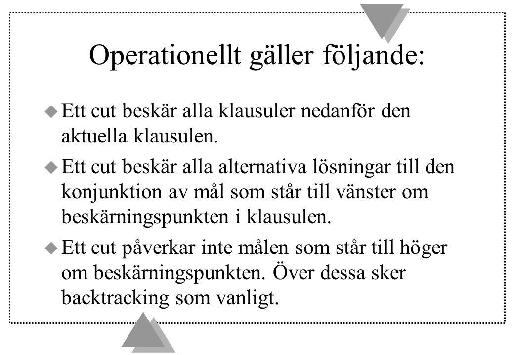 Operationellt gäller följande: u Ett cut beskär alla klausuler nedanför den aktuella klausulen.