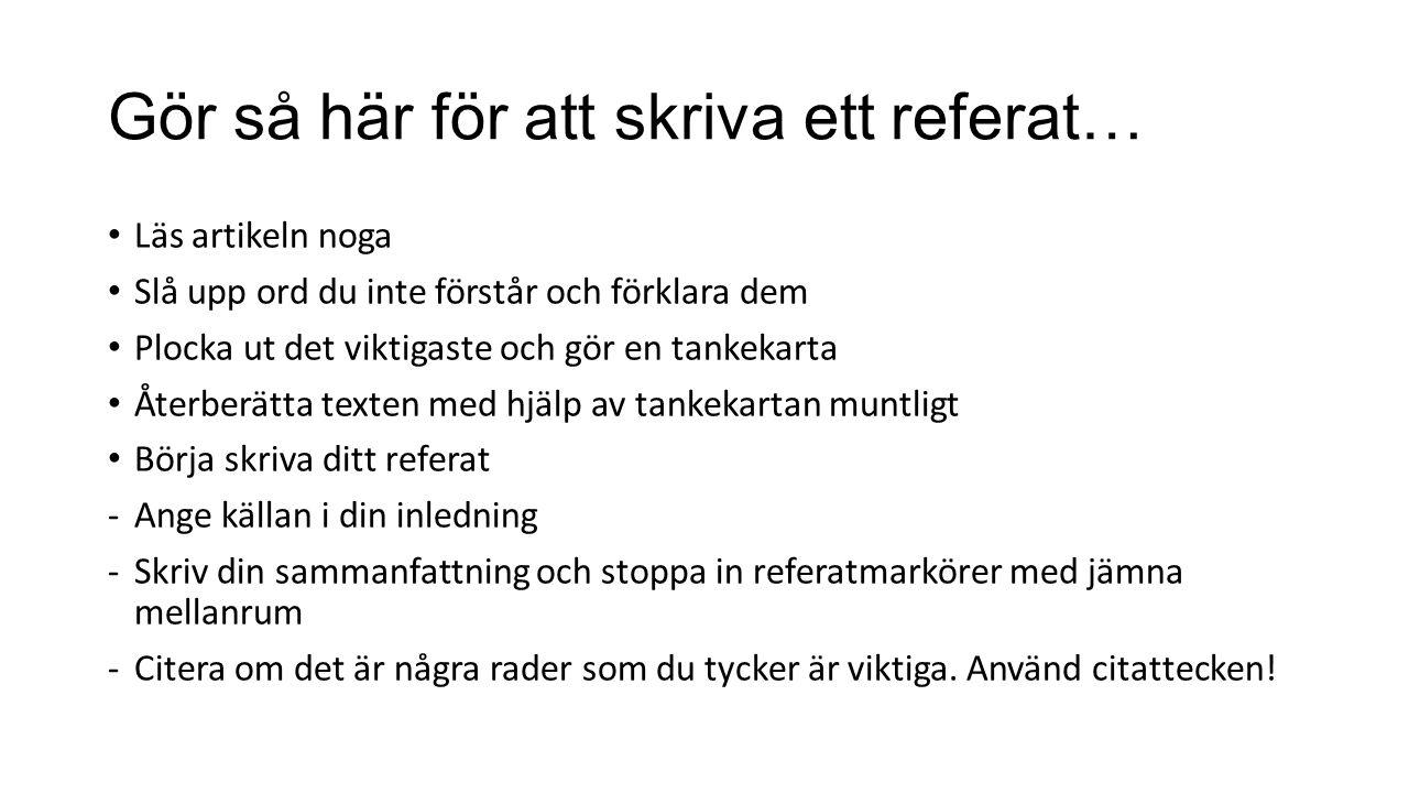 Vad är referatmarkörer.Ulla Andersson… (OBS.