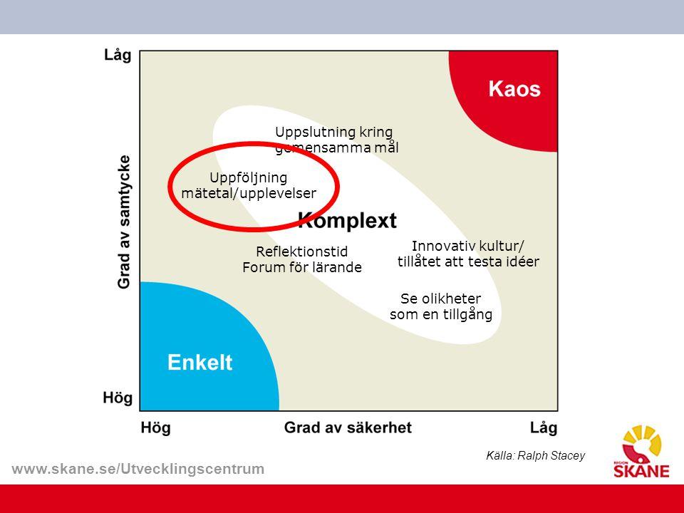www.skane.se/Utvecklingscentrum Uppslutning kring gemensamma mål Uppföljning mätetal/upplevelser Innovativ kultur/ tillåtet att testa idéer Reflektion