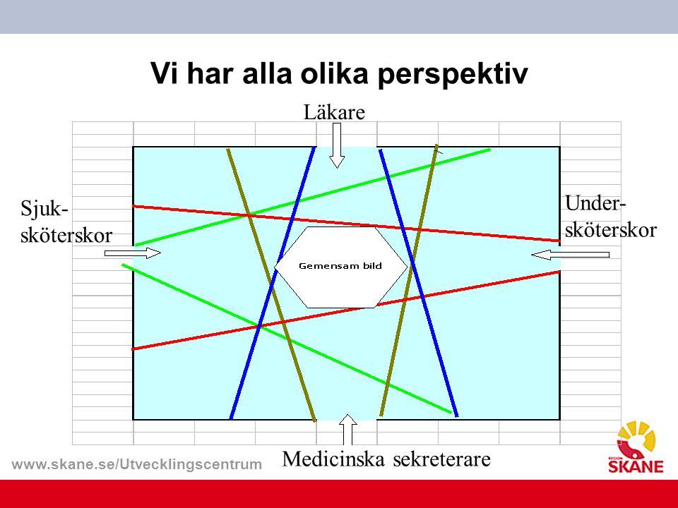 www.skane.se/Utvecklingscentrum Läkare Medicinska sekreterare Under- sköterskor Sjuk- sköterskor Vi har alla olika perspektiv