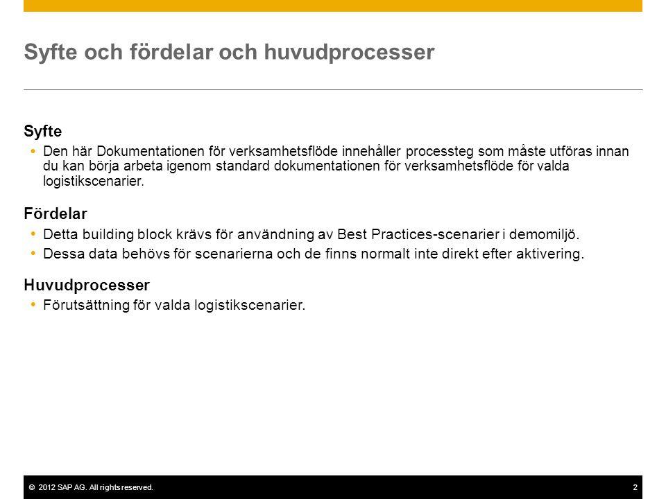 ©2012 SAP AG. All rights reserved.2 Syfte och fördelar och huvudprocesser Syfte  Den här Dokumentationen för verksamhetsflöde innehåller processteg s