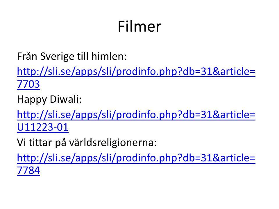 Filmer Från Sverige till himlen: http://sli.se/apps/sli/prodinfo.php?db=31&article= 7703 Happy Diwali: http://sli.se/apps/sli/prodinfo.php?db=31&article= U11223-01 Vi tittar på världsreligionerna: http://sli.se/apps/sli/prodinfo.php?db=31&article= 7784