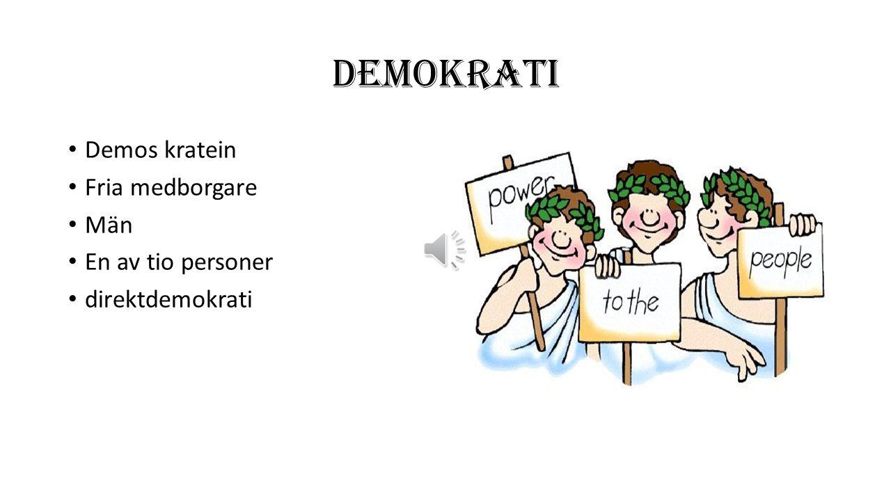 DEMOKRATI Demos kratein Fria medborgare Män En av tio personer direktdemokrati