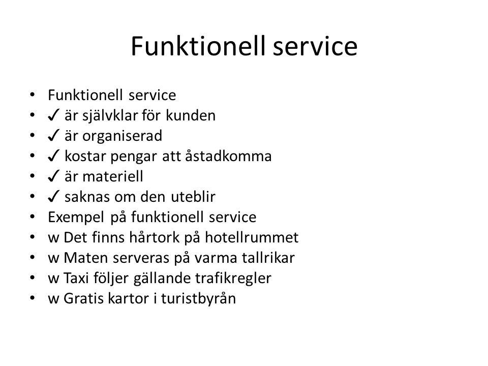 Funktionell service ✓ är självklar för kunden ✓ är organiserad ✓ kostar pengar att åstadkomma ✓ är materiell ✓ saknas om den uteblir Exempel på funkti