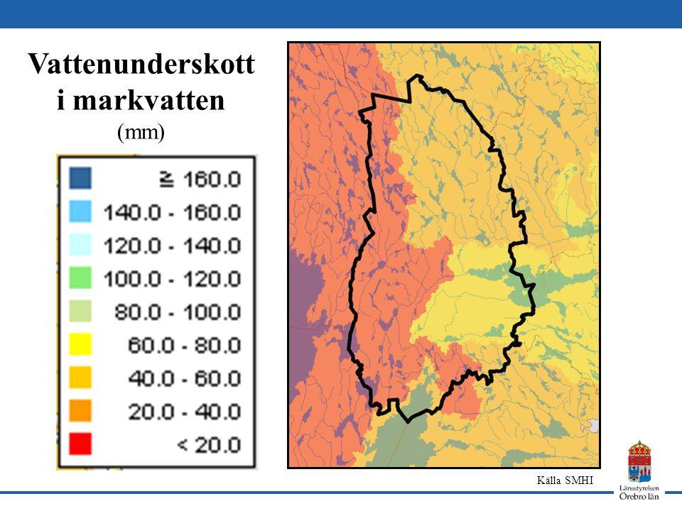 Vattenunderskott i markvatten (mm) Källa SMHI