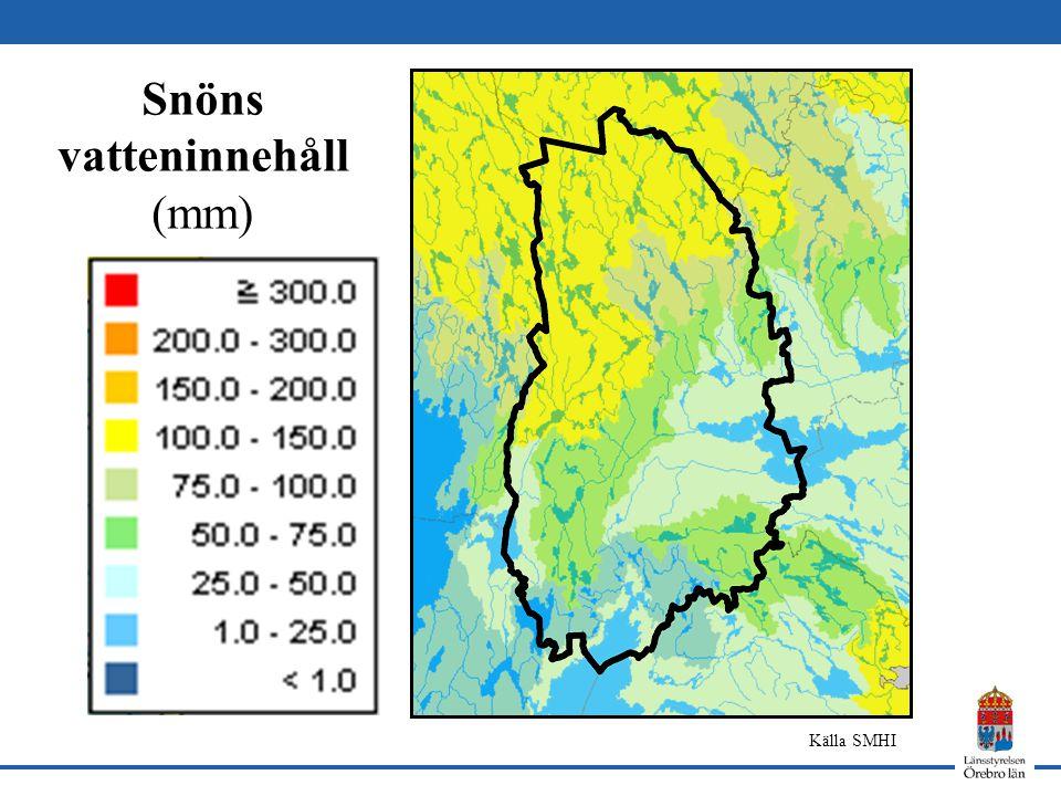 Snöns vatteninnehåll (mm) Källa SMHI