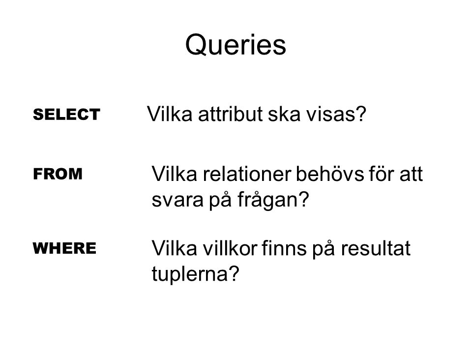 Queries SELECT FROM WHERE Vilka attribut ska visas.