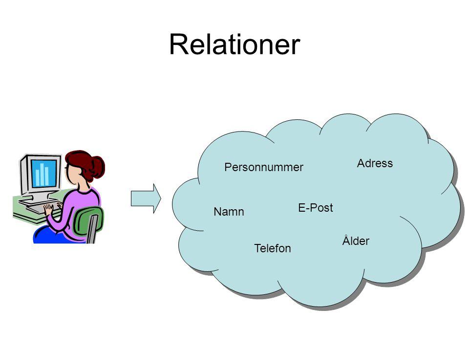 Relationer Personnummer Namn Telefon E-Post Adress Ålder