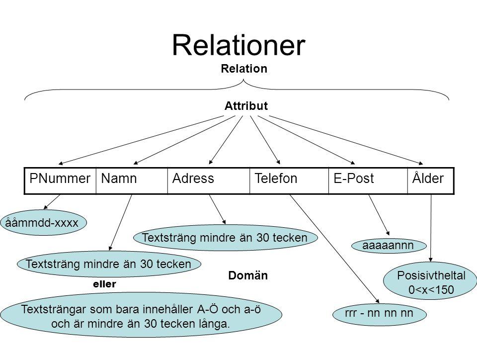 Relationer PNummerNamnAdressTelefonE-PostÅlder Relation Attribut Domän Textsträngar som bara innehåller A-Ö och a-ö och är mindre än 30 tecken långa.