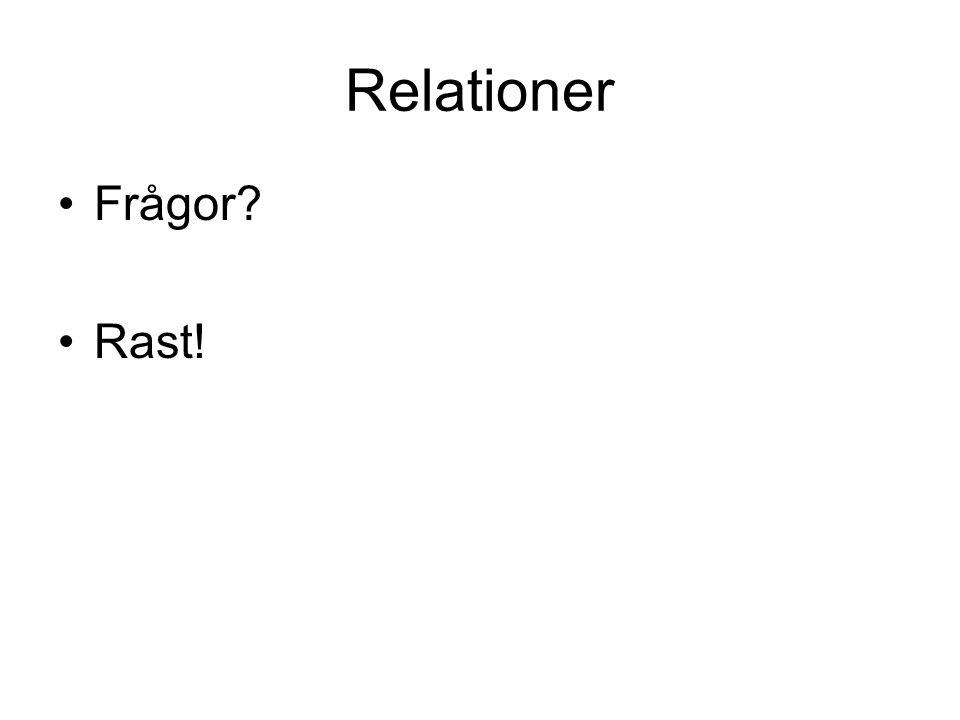 Relationer Frågor? Rast!