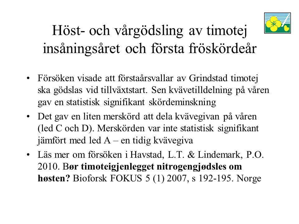Höst- och vårgödsling av timotej insåningsåret och första fröskördeår Försöken visade att förstaårsvallar av Grindstad timotej ska gödslas vid tillväxtstart.