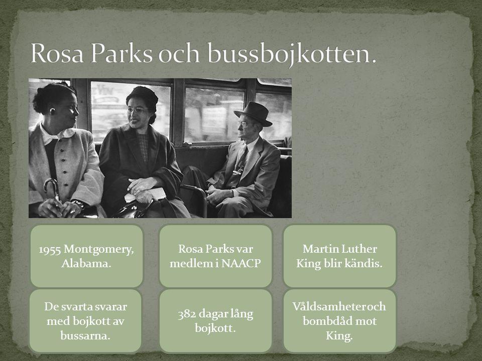 1955 Montgomery, Alabama. Rosa Parks var medlem i NAACP Martin Luther King blir kändis. De svarta svarar med bojkott av bussarna. 382 dagar lång bojko