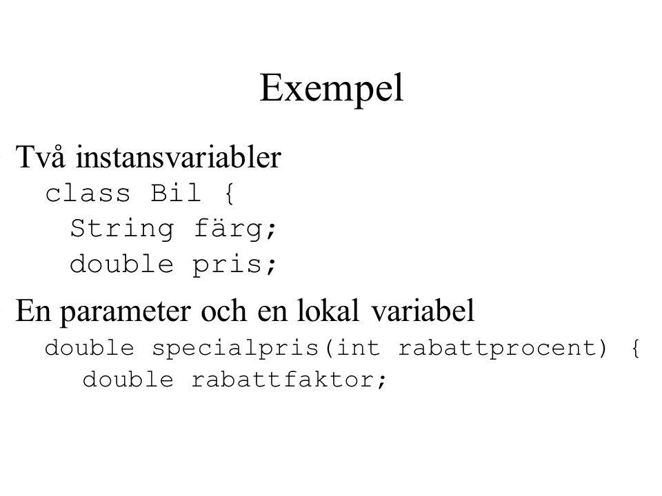 Exempel Två instansvariabler class Bil { String färg; double pris; En parameter och en lokal variabel double specialpris(int rabattprocent) { double rabattfaktor;