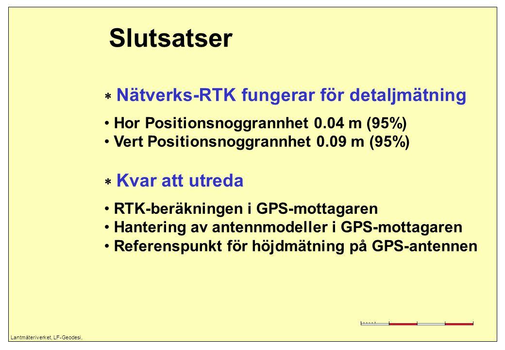 Lantmäteriverket, LF-Geodesi, Slutsatser  Nätverks-RTK fungerar för detaljmätning Hor Positionsnoggrannhet 0.04 m (95%) Vert Positionsnoggrannhet 0.0