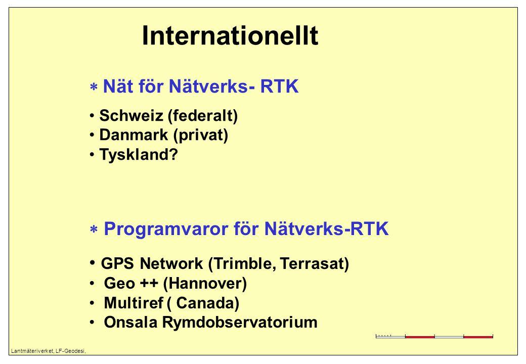 Lantmäteriverket, LF-Geodesi, Internationellt  Nät för Nätverks- RTK Schweiz (federalt) Danmark (privat) Tyskland?  Programvaror för Nätverks-RTK GP