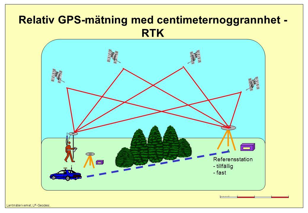 Lantmäteriverket, LF-Geodesi, Relativ GPS-mätning med centimeternoggrannhet - RTK Referensstation - tillfällig - fast