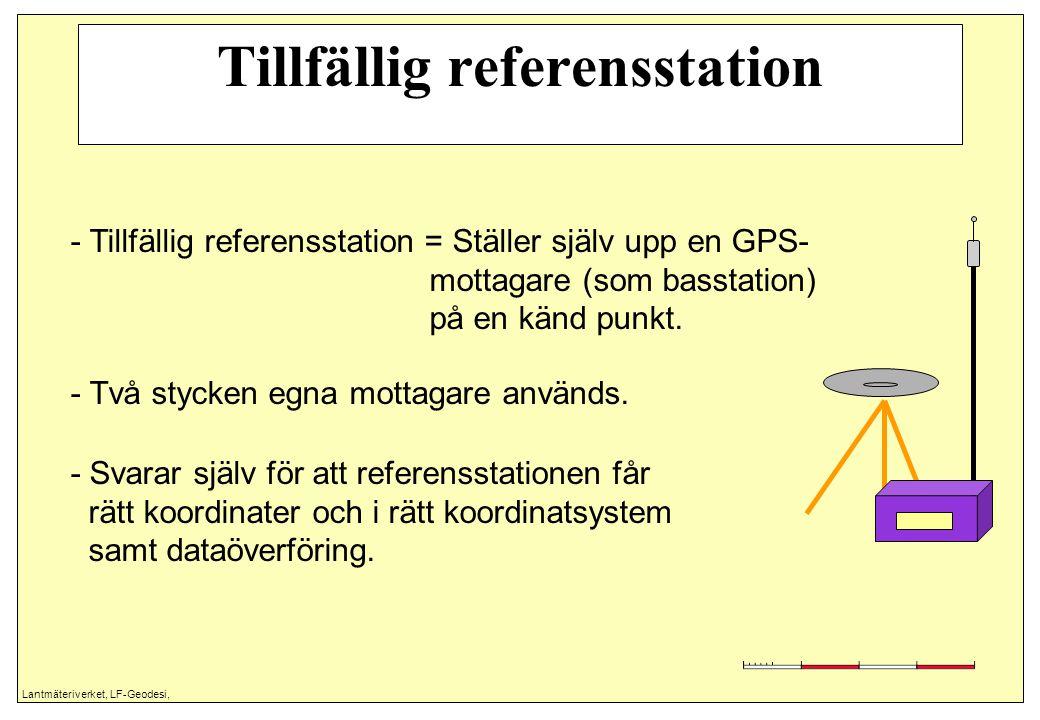 Lantmäteriverket, LF-Geodesi, Tillfällig referensstation - Tillfällig referensstation = Ställer själv upp en GPS- mottagare (som basstation) på en känd punkt.