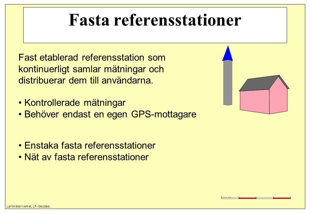 Lantmäteriverket, LF-Geodesi, Fasta referensstationer Fast etablerad referensstation som kontinuerligt samlar mätningar och distribuerar dem till anvä