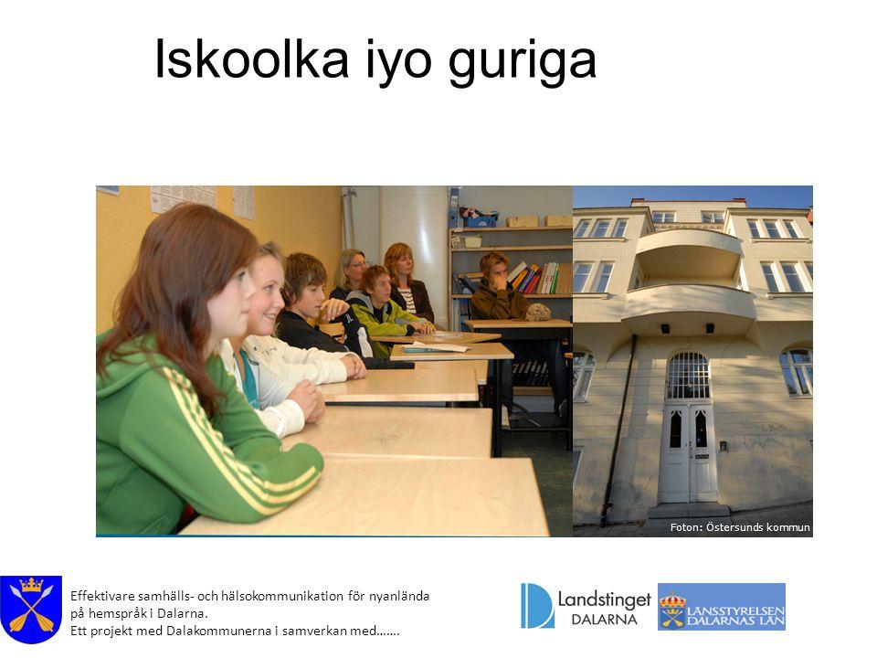 Effektivare samhälls- och hälsokommunikation för nyanlända på hemspråk i Dalarna. Ett projekt med Dalakommunerna i samverkan med……. Iskoolka iyo gurig