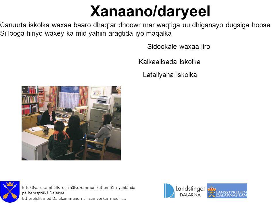 Effektivare samhälls- och hälsokommunikation för nyanlända på hemspråk i Dalarna. Ett projekt med Dalakommunerna i samverkan med……. Xanaano/daryeel Ca