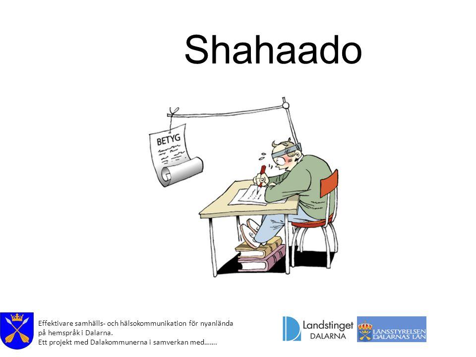 Effektivare samhälls- och hälsokommunikation för nyanlända på hemspråk i Dalarna. Ett projekt med Dalakommunerna i samverkan med……. Shahaado
