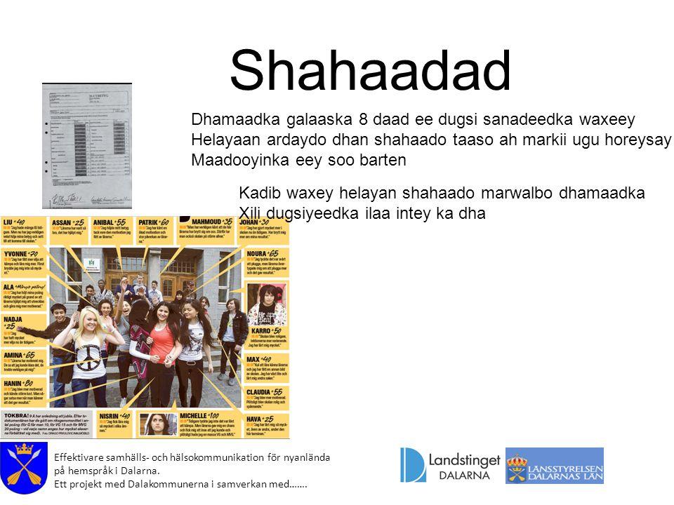 Effektivare samhälls- och hälsokommunikation för nyanlända på hemspråk i Dalarna. Ett projekt med Dalakommunerna i samverkan med……. Shahaadad Dhamaadk
