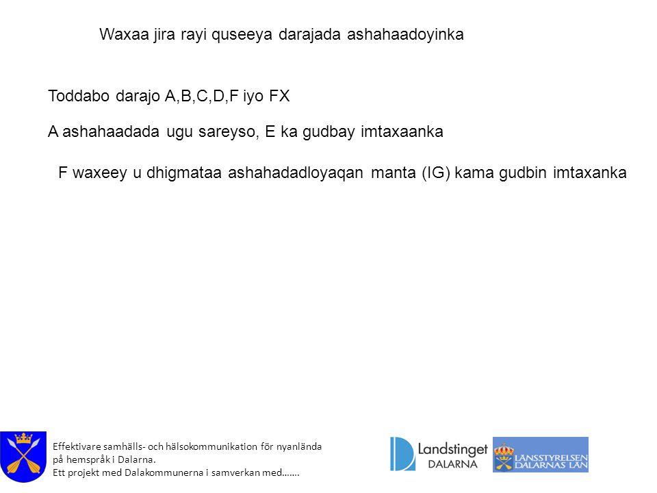 Effektivare samhälls- och hälsokommunikation för nyanlända på hemspråk i Dalarna. Ett projekt med Dalakommunerna i samverkan med……. Waxaa jira rayi qu