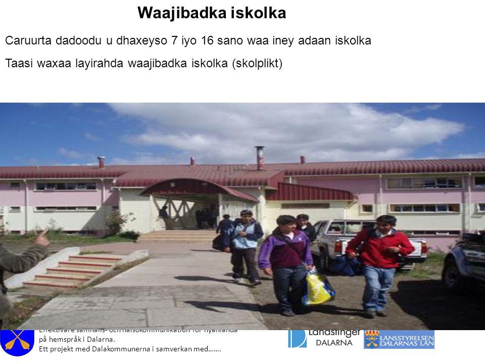 Effektivare samhälls- och hälsokommunikation för nyanlända på hemspråk i Dalarna. Ett projekt med Dalakommunerna i samverkan med……. Waajibadka iskolka