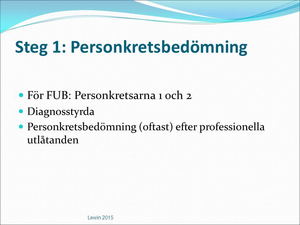 Steg 1: Personkretsbedömning För FUB: Personkretsarna 1 och 2 Diagnosstyrda Personkretsbedömning (oftast) efter professionella utlåtanden Lewin 2015