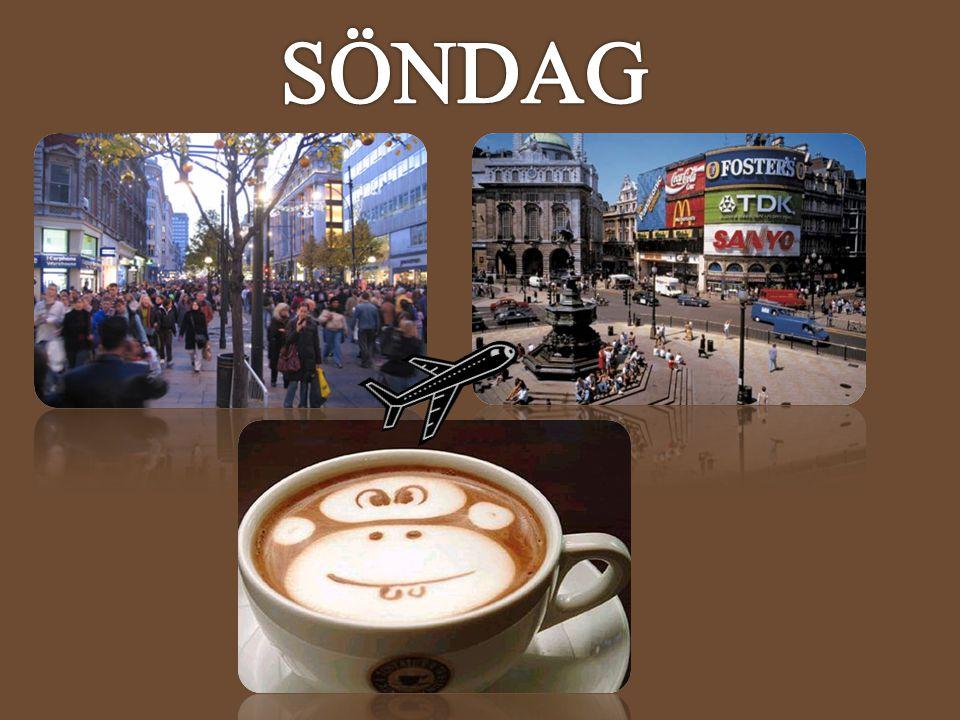 TorsdagFredagLördagSöndag 12:00 - Landning Arlanda - Heathrow 10:00 Samling i Lobby 10:00 – 13:00 Möte i konferensrummet 10:00 Samling i lobbyn 13:00 - 13:30 Incheckning 10:15 - 13:00 Madame Tussauds 13:00 – 15:00 Lunch valfritt ställe 10:30 – 15:00 Fri tid på stan 13:30 - 17:00 Introduktionsmöte Samt.