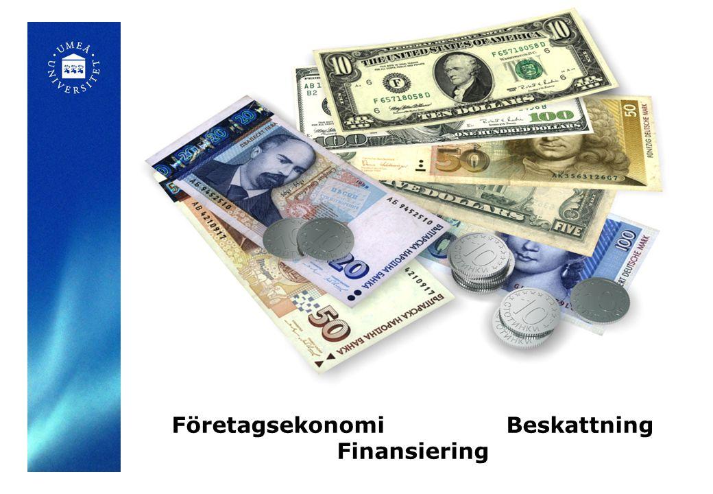Företagsekonomi Beskattning Finansiering