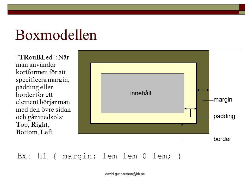 """david.gunnarsson@hb.se Boxmodellen innehåll margin padding border """"TRouBLed"""": När man använder kortformen för att specificera margin, padding eller bo"""