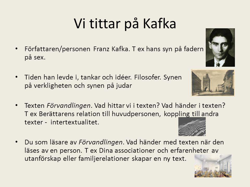 Vi tittar på Kafka Författaren/personen Franz Kafka. T ex hans syn på fadern och på sex. Tiden han levde i, tankar och idéer. Filosofer. Synen på verk