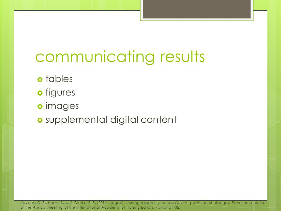 communicating results  tables  figures  images  supplemental digital content Kovach, C.