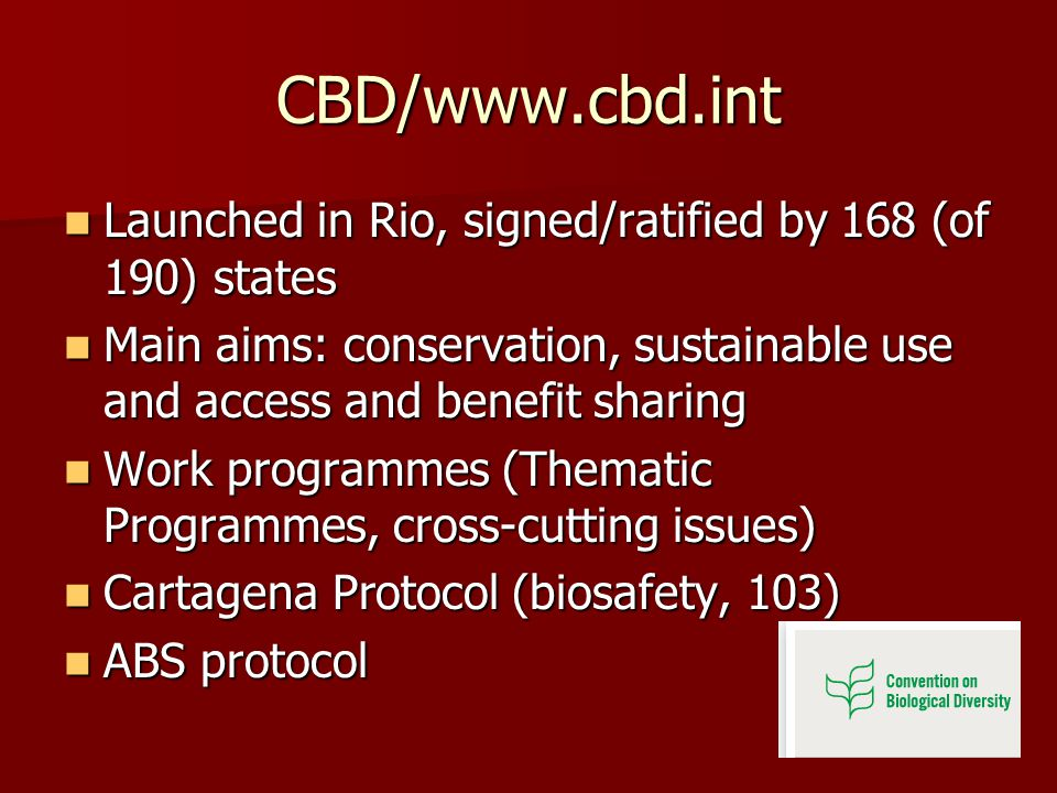 CBD/www.cbd.int Launched in Rio, signed/ratified by 168 (of 190) states Launched in Rio, signed/ratified by 168 (of 190) states Main aims: conservation, sustainable use and access and benefit sharing Main aims: conservation, sustainable use and access and benefit sharing Work programmes (Thematic Programmes, cross-cutting issues) Work programmes (Thematic Programmes, cross-cutting issues) Cartagena Protocol (biosafety, 103) Cartagena Protocol (biosafety, 103) ABS protocol ABS protocol